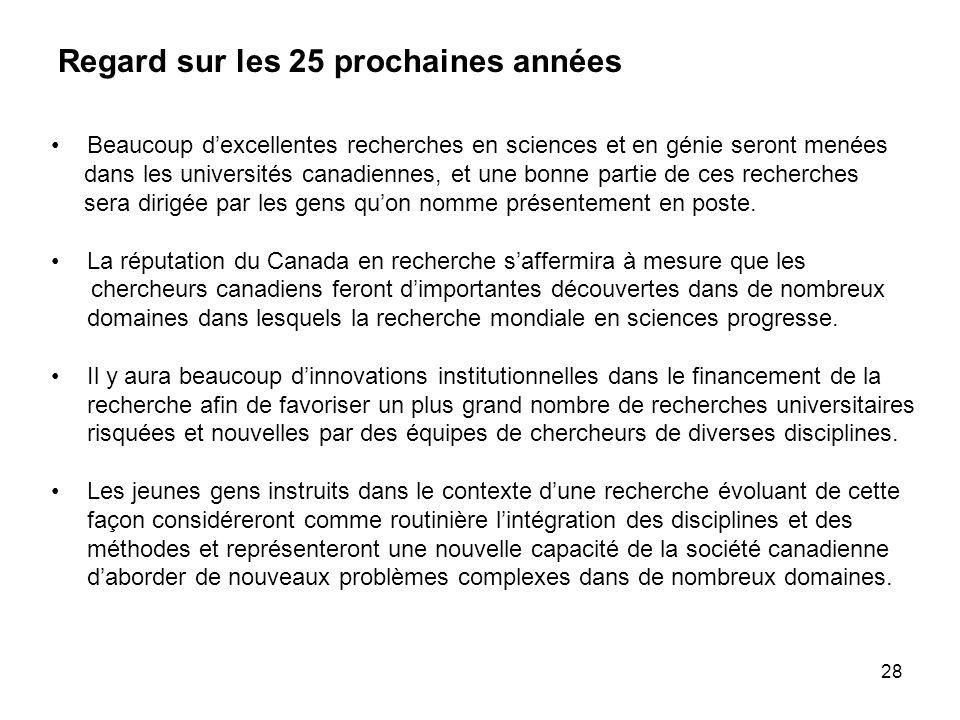 28 Regard sur les 25 prochaines années Beaucoup dexcellentes recherches en sciences et en génie seront menées dans les universités canadiennes, et une bonne partie de ces recherches sera dirigée par les gens quon nomme présentement en poste.