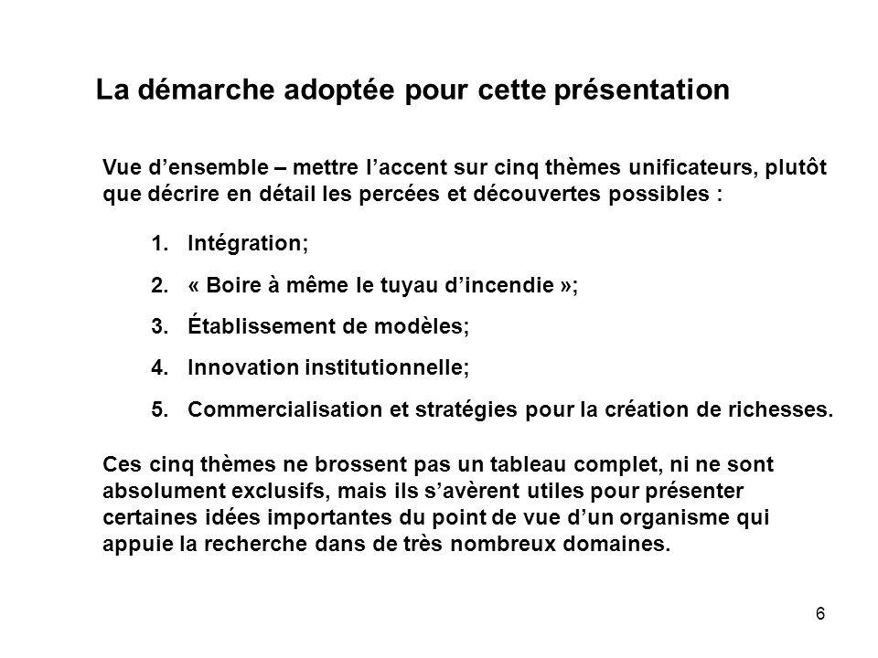 6 La démarche adoptée pour cette présentation Vue densemble – mettre laccent sur cinq thèmes unificateurs, plutôt que décrire en détail les percées et découvertes possibles : 1.