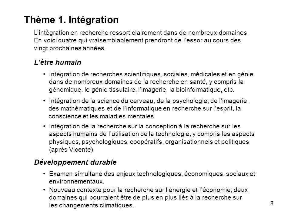8 Thème 1. Intégration Lintégration en recherche ressort clairement dans de nombreux domaines.
