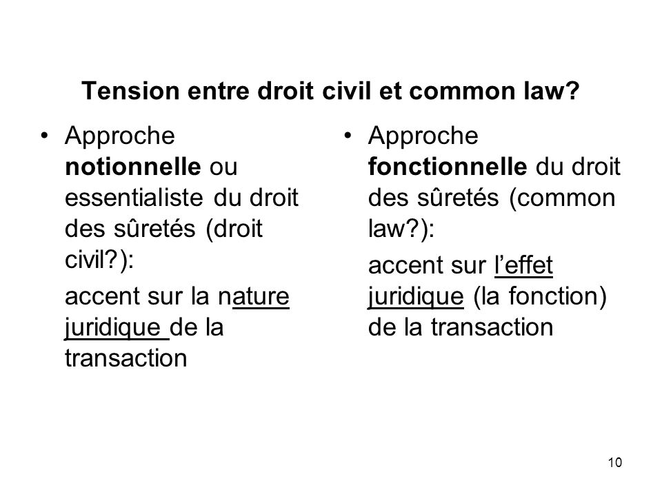 10 Tension entre droit civil et common law.