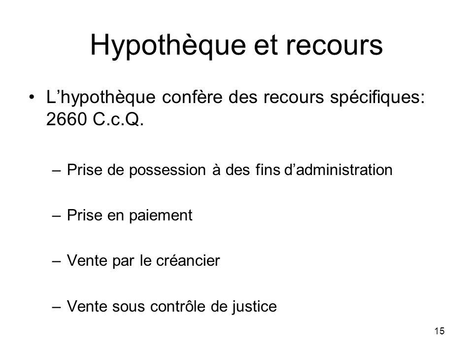 15 Hypothèque et recours Lhypothèque confère des recours spécifiques: 2660 C.c.Q. –Prise de possession à des fins dadministration –Prise en paiement –