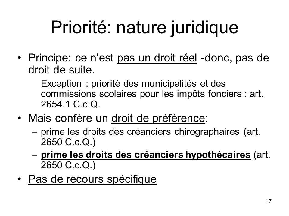 17 Priorité: nature juridique Principe: ce nest pas un droit réel -donc, pas de droit de suite. Exception : priorité des municipalités et des commissi