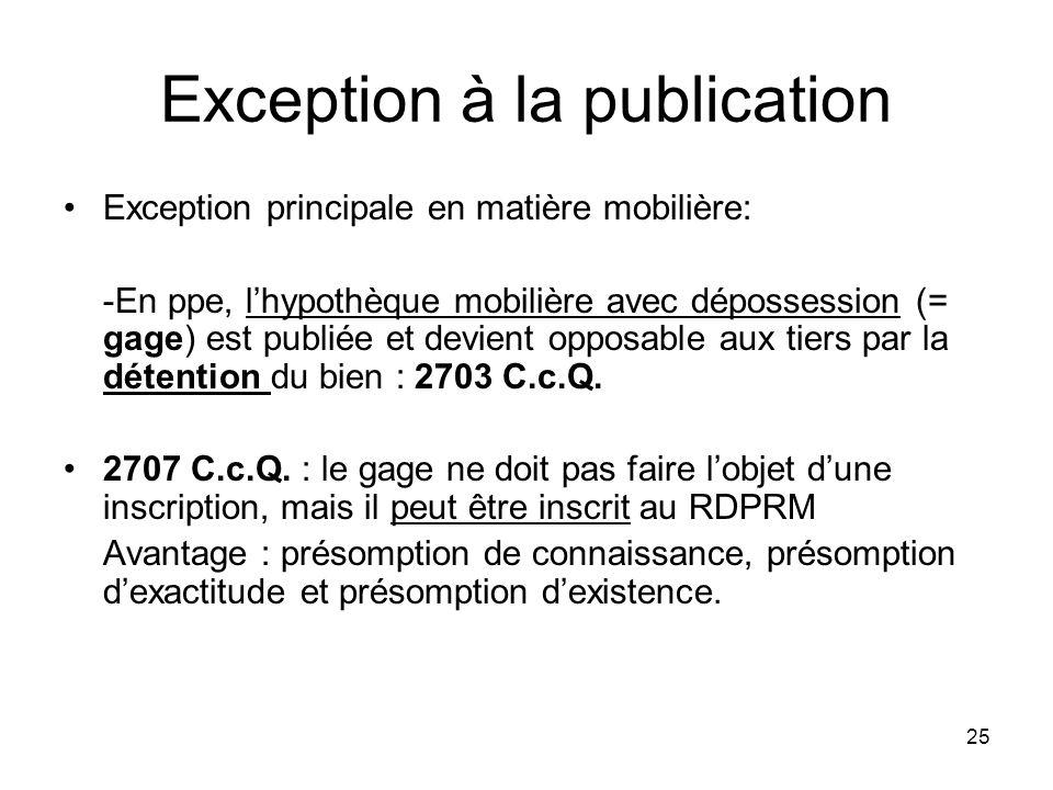 25 Exception à la publication Exception principale en matière mobilière: -En ppe, lhypothèque mobilière avec dépossession (= gage) est publiée et devi