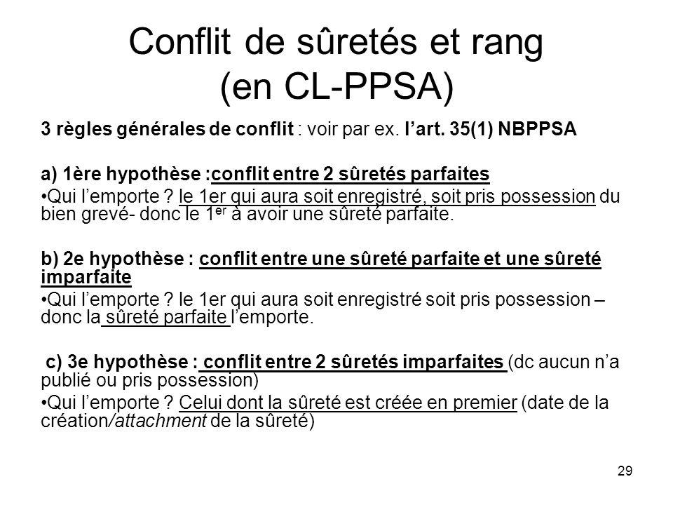 29 Conflit de sûretés et rang (en CL-PPSA) 3 règles générales de conflit : voir par ex. lart. 35(1) NBPPSA a) 1ère hypothèse :conflit entre 2 sûretés