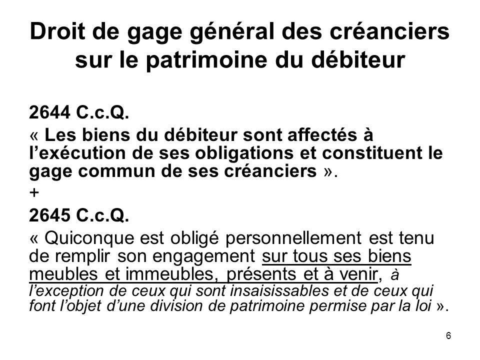 6 Droit de gage général des créanciers sur le patrimoine du débiteur 2644 C.c.Q. « Les biens du débiteur sont affectés à lexécution de ses obligations