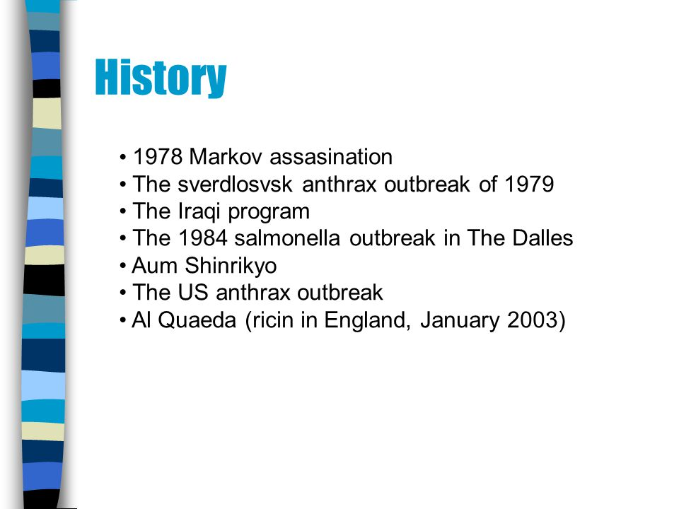 History 1978 Markov assasination The sverdlosvsk anthrax outbreak of 1979 The Iraqi program The 1984 salmonella outbreak in The Dalles Aum Shinrikyo The US anthrax outbreak Al Quaeda (ricin in England, January 2003)