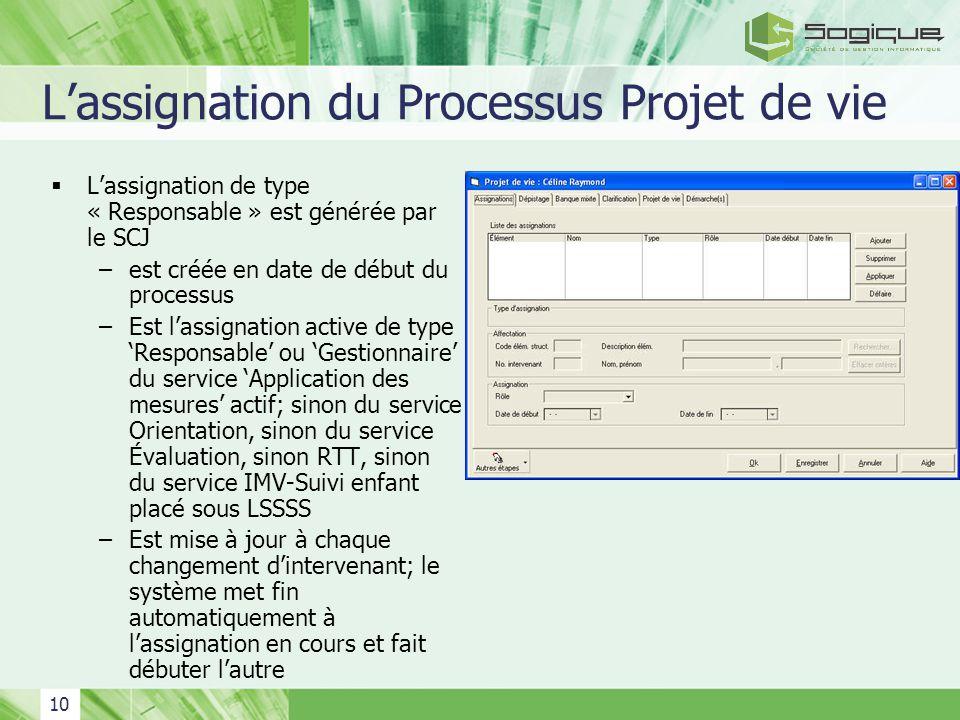 10 Lassignation du Processus Projet de vie Lassignation de type « Responsable » est générée par le SCJ –est créée en date de début du processus –Est l