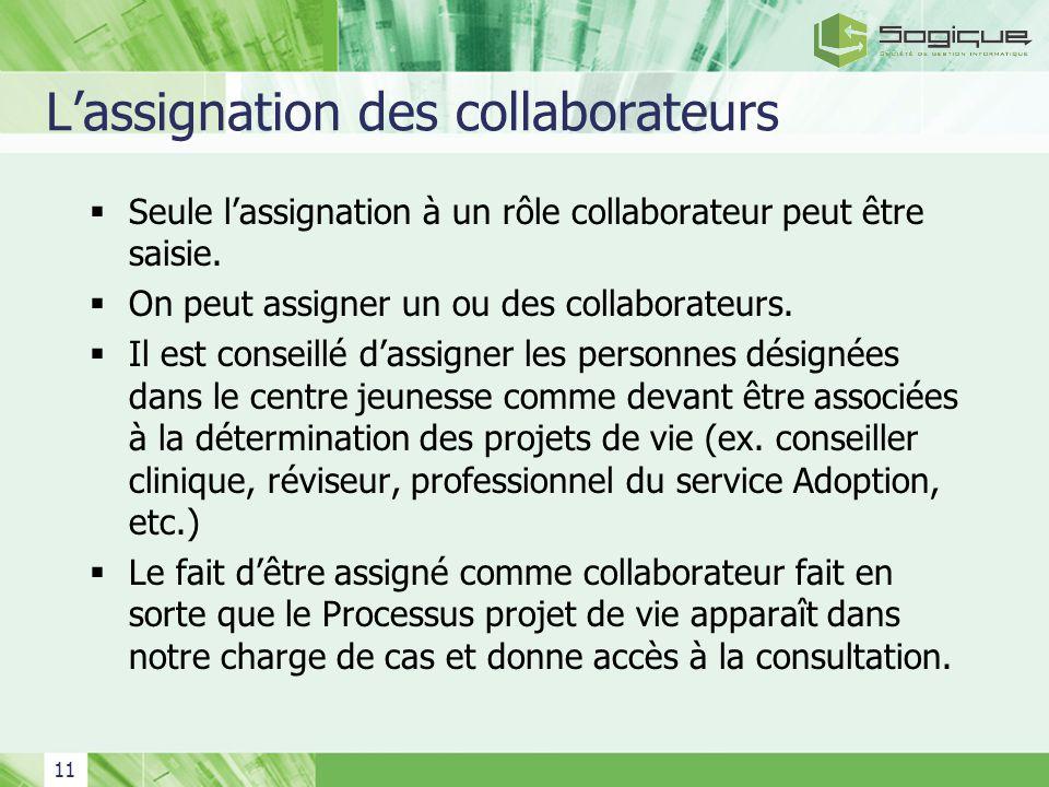 11 Lassignation des collaborateurs Seule lassignation à un rôle collaborateur peut être saisie. On peut assigner un ou des collaborateurs. Il est cons