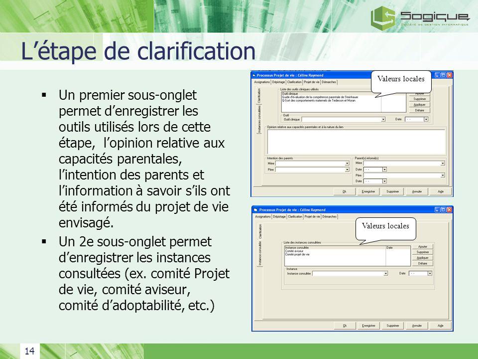 14 Létape de clarification Un premier sous-onglet permet denregistrer les outils utilisés lors de cette étape, lopinion relative aux capacités parenta