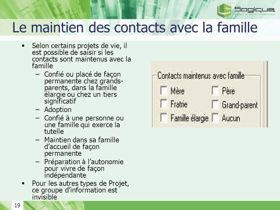 19 Le maintien des contacts avec la famille Selon certains projets de vie, il est possible de saisir si les contacts sont maintenus avec la famille –C