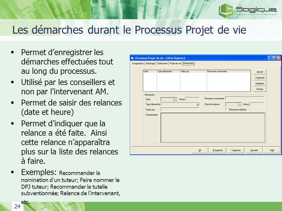 24 Les démarches durant le Processus Projet de vie Permet denregistrer les démarches effectuées tout au long du processus. Utilisé par les conseillers