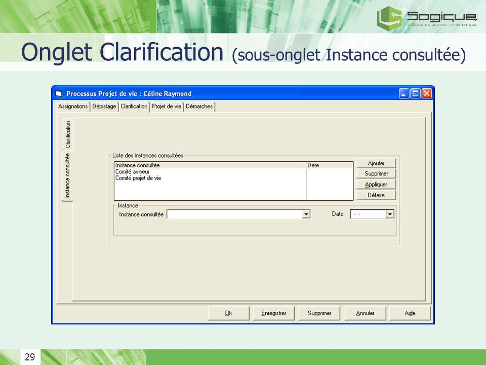 29 Onglet Clarification (sous-onglet Instance consultée)