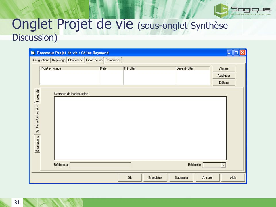 31 Onglet Projet de vie (sous-onglet Synthèse Discussion)