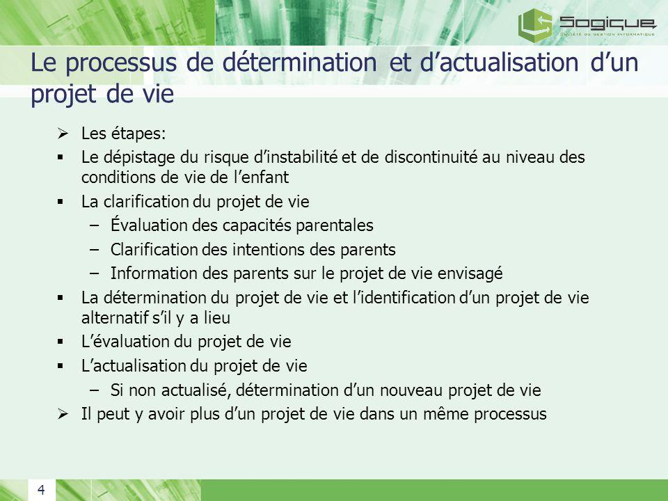 4 Le processus de détermination et dactualisation dun projet de vie Les étapes: Le dépistage du risque dinstabilité et de discontinuité au niveau des