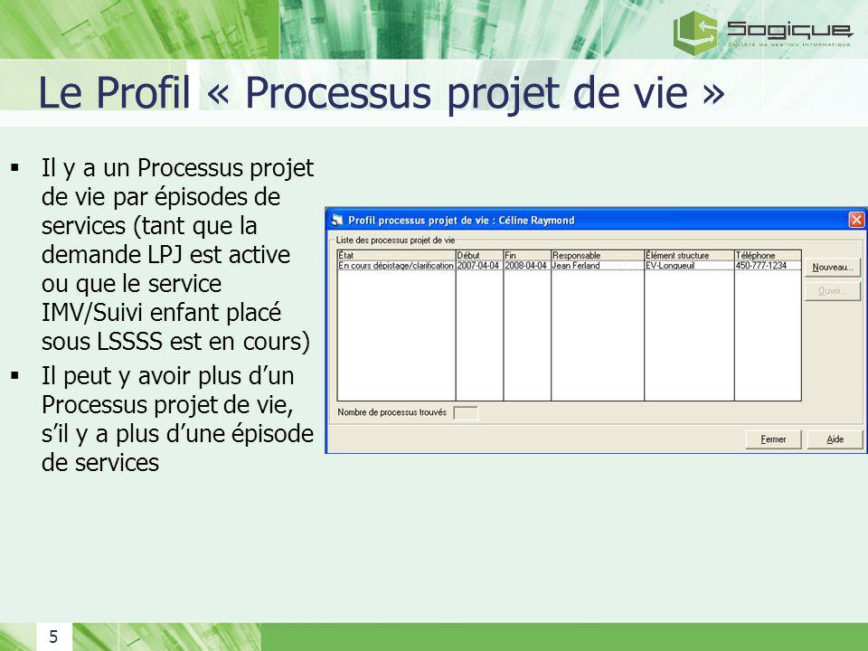5 Le Profil « Processus projet de vie » Il y a un Processus projet de vie par épisodes de services (tant que la demande LPJ est active ou que le servi