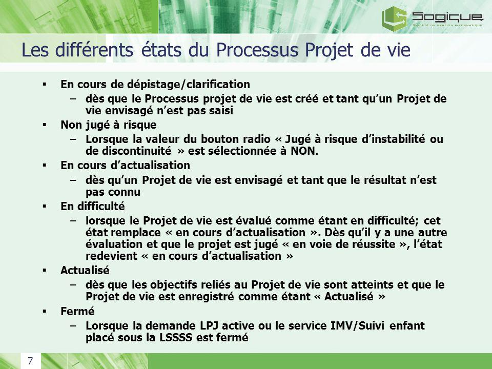 7 Les différents états du Processus Projet de vie En cours de dépistage/clarification –dès que le Processus projet de vie est créé et tant quun Projet