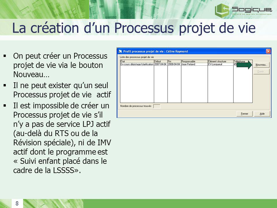 8 La création dun Processus projet de vie On peut créer un Processus projet de vie via le bouton Nouveau… Il ne peut exister quun seul Processus proje