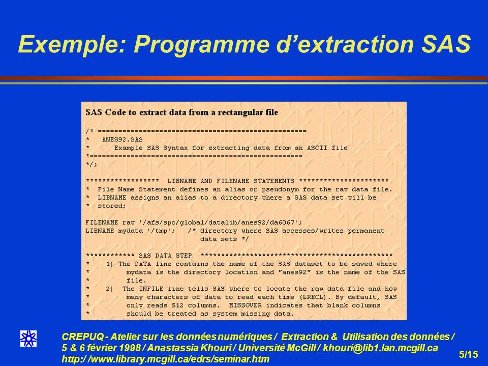 CREPUQ - Atelier sur les données numériques / Extraction & Utilisation des données / 5 & 6 février 1998 / Anastassia Khouri / Université McGill / khouri@lib1.lan.mcgill.ca http:/ /www.library.mcgill.ca/edrs/seminar.htm 5/15 Exemple: Programme dextraction SAS