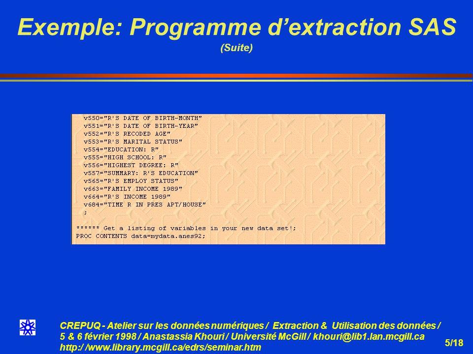 CREPUQ - Atelier sur les données numériques / Extraction & Utilisation des données / 5 & 6 février 1998 / Anastassia Khouri / Université McGill / khouri@lib1.lan.mcgill.ca http:/ /www.library.mcgill.ca/edrs/seminar.htm 5/18 Exemple: Programme dextraction SAS (Suite)