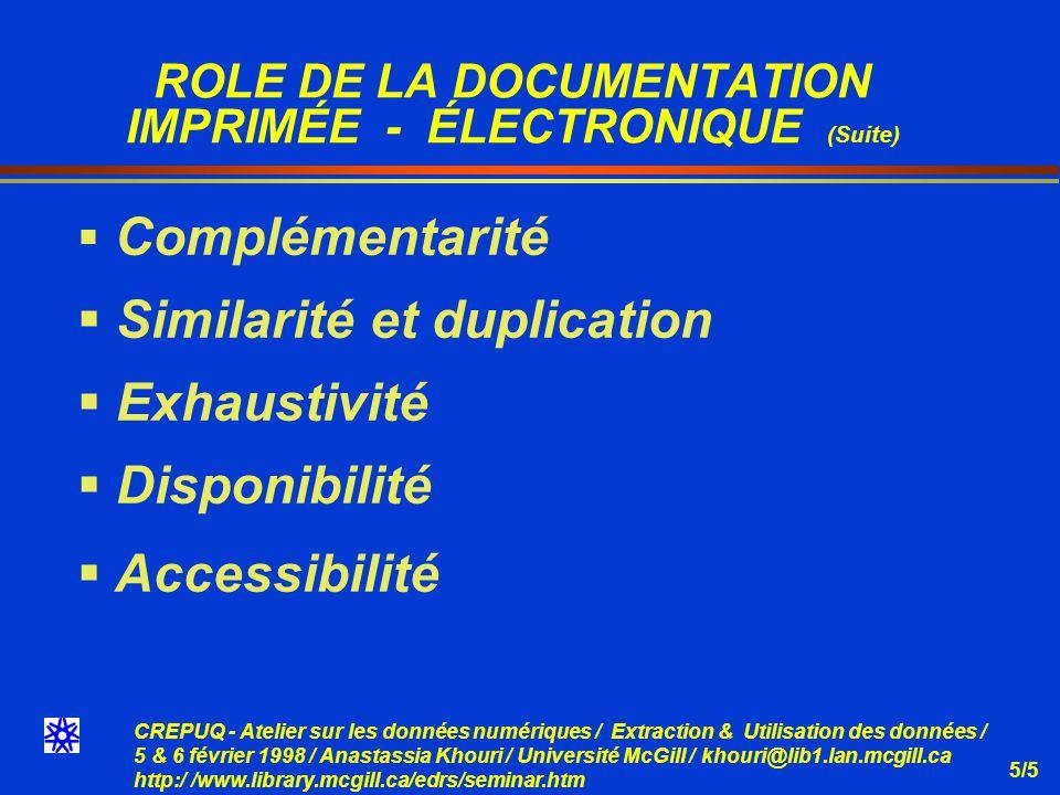 CREPUQ - Atelier sur les données numériques / Extraction & Utilisation des données / 5 & 6 février 1998 / Anastassia Khouri / Université McGill / khouri@lib1.lan.mcgill.ca http:/ /www.library.mcgill.ca/edrs/seminar.htm 5/16 Exemple: Programme dextraction SAS (Suite)