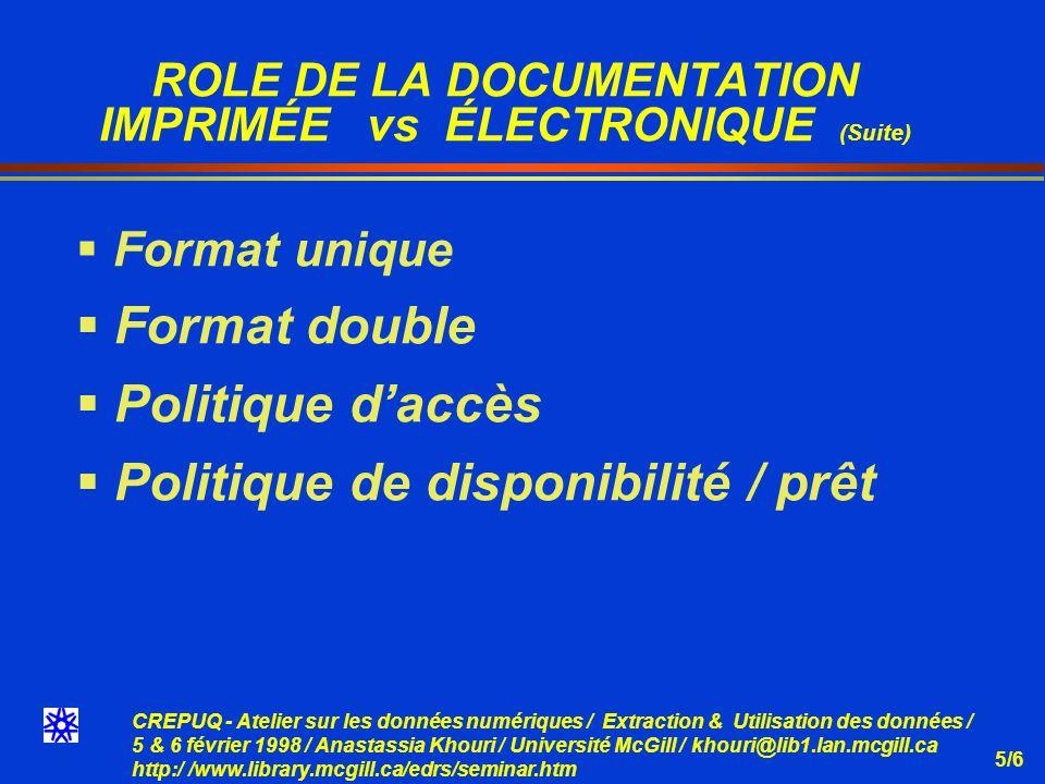 CREPUQ - Atelier sur les données numériques / Extraction & Utilisation des données / 5 & 6 février 1998 / Anastassia Khouri / Université McGill / khouri@lib1.lan.mcgill.ca http:/ /www.library.mcgill.ca/edrs/seminar.htm 5/6 ROLE DE LA DOCUMENTATION IMPRIMÉE vs ÉLECTRONIQUE (Suite) Format unique Format double Politique daccès Politique de disponibilité / prêt