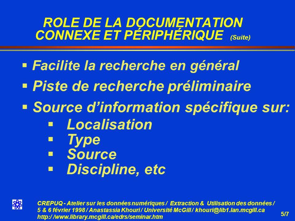 CREPUQ - Atelier sur les données numériques / Extraction & Utilisation des données / 5 & 6 février 1998 / Anastassia Khouri / Université McGill / khouri@lib1.lan.mcgill.ca http:/ /www.library.mcgill.ca/edrs/seminar.htm 5/7 ROLE DE LA DOCUMENTATION CONNEXE ET PÉRIPHÉRIQUE (Suite) Facilite la recherche en général Piste de recherche préliminaire Source dinformation spécifique sur: Localisation Type Source Discipline, etc