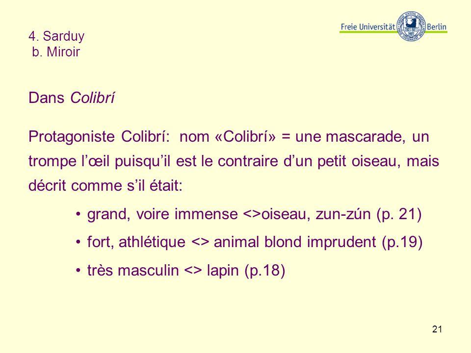 21 4. Sarduy b. Miroir Dans Colibrí Protagoniste Colibrí: nom «Colibrí» = une mascarade, un trompe lœil puisquil est le contraire dun petit oiseau, ma