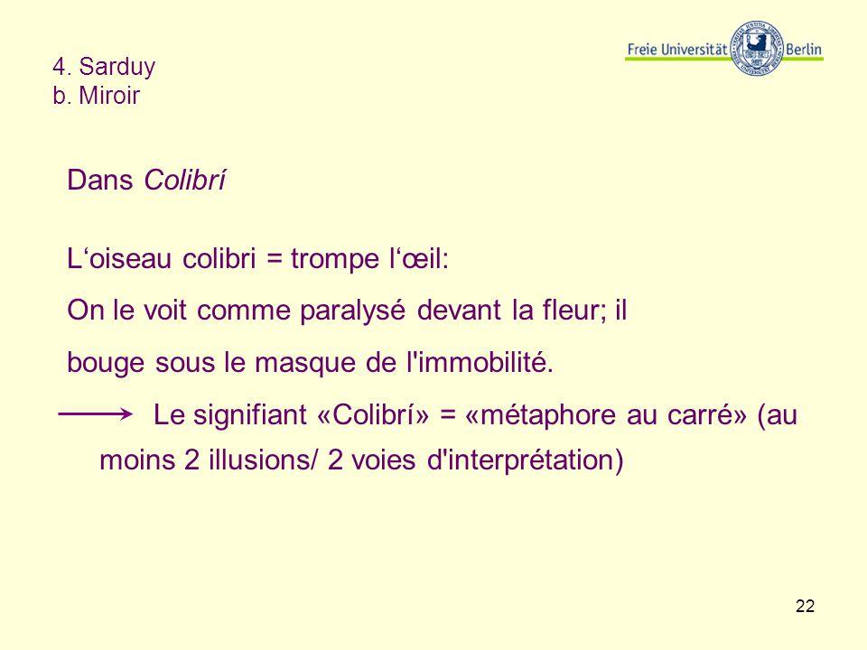 22 4. Sarduy b. Miroir Dans Colibrí Loiseau colibri = trompe lœil: On le voit comme paralysé devant la fleur; il bouge sous le masque de l'immobilité.