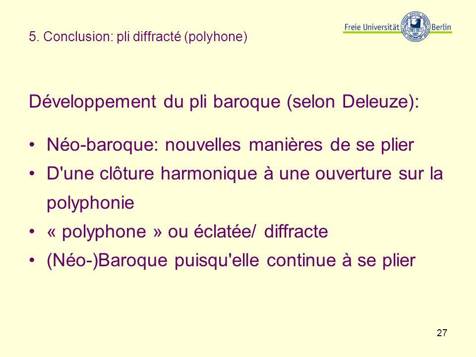 27 5. Conclusion: pli diffracté (polyhone) Développement du pli baroque (selon Deleuze): Néo-baroque: nouvelles manières de se plier D'une clôture har