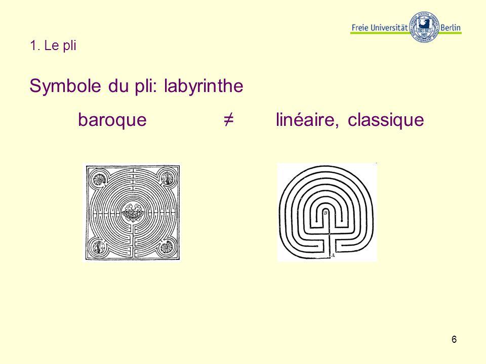6 1. Le pli Symbole du pli: labyrinthe baroque linéaire, classique