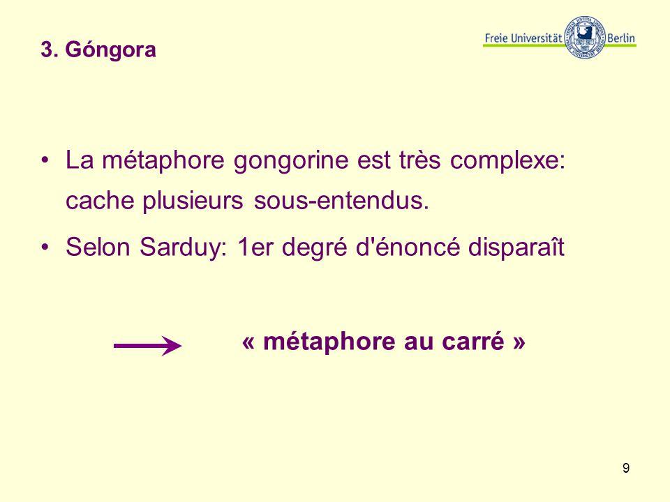 9 3. Góngora La métaphore gongorine est très complexe: cache plusieurs sous-entendus. Selon Sarduy: 1er degré d'énoncé disparaît « métaphore au carré