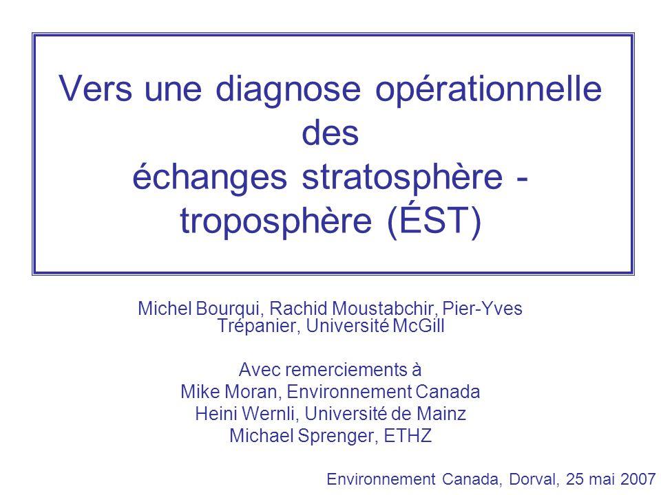 Vers une diagnose opérationnelle des échanges stratosphère - troposphère (ÉST) Michel Bourqui, Rachid Moustabchir, Pier-Yves Trépanier, Université McGill Avec remerciements à Mike Moran, Environnement Canada Heini Wernli, Université de Mainz Michael Sprenger, ETHZ Environnement Canada, Dorval, 25 mai 2007