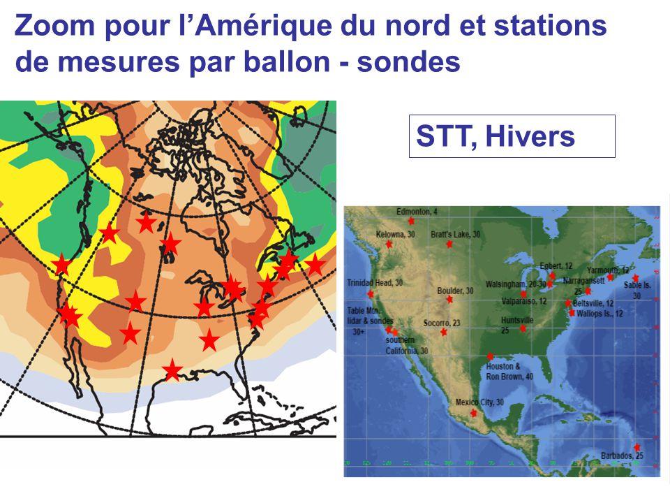 Zoom pour lAmérique du nord et stations de mesures par ballon - sondes STT, Hivers