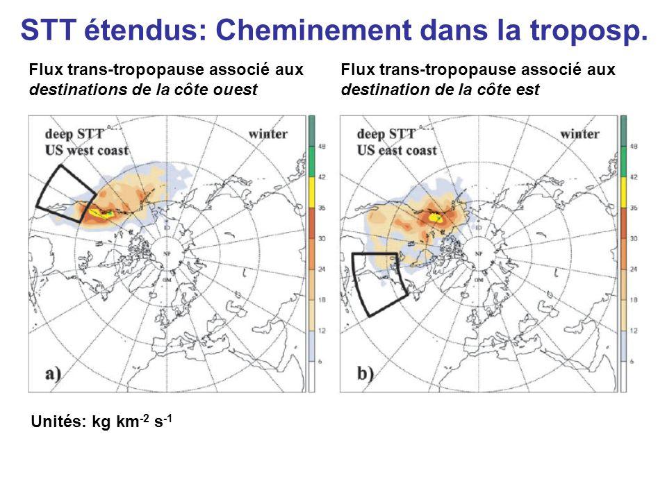 Flux trans-tropopause associé aux destinations de la côte ouest Flux trans-tropopause associé aux destination de la côte est Unités: kg km -2 s -1 STT étendus: Cheminement dans la troposp.