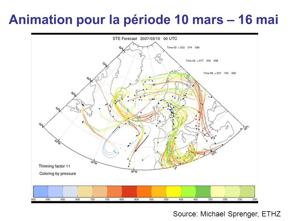 Animation pour la période 10 mars – 16 mai Source: Michael Sprenger, ETHZ