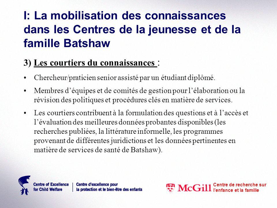 I: La mobilisation des connaissances dans les Centres de la jeunesse et de la famille Batshaw 3) Les courtiers du connaissances : Chercheur/praticien senior assisté par un étudiant diplômé.