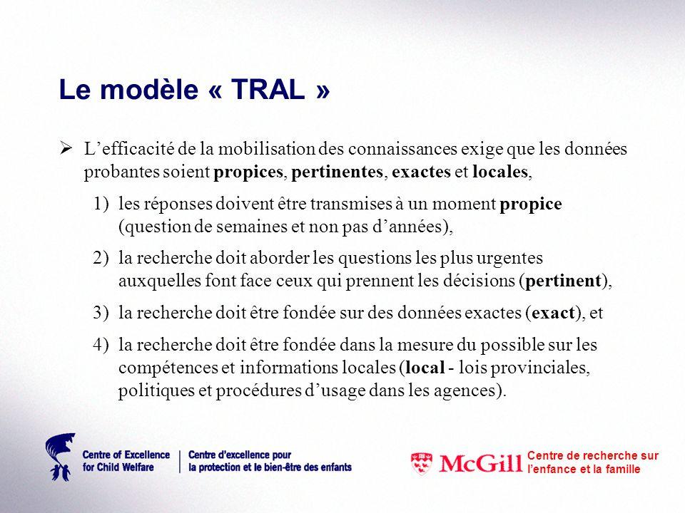 Le modèle « TRAL » Lefficacité de la mobilisation des connaissances exige que les données probantes soient propices, pertinentes, exactes et locales, 1)les réponses doivent être transmises à un moment propice (question de semaines et non pas dannées), 2)la recherche doit aborder les questions les plus urgentes auxquelles font face ceux qui prennent les décisions (pertinent), 3)la recherche doit être fondée sur des données exactes (exact), et 4)la recherche doit être fondée dans la mesure du possible sur les compétences et informations locales (local - lois provinciales, politiques et procédures dusage dans les agences).
