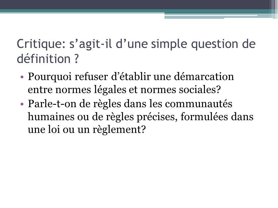 Critique: sagit-il dune simple question de définition .