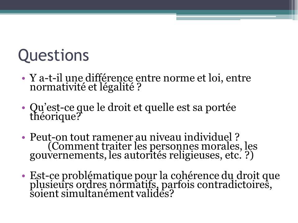 Questions Y a-t-il une différence entre norme et loi, entre normativité et légalité .