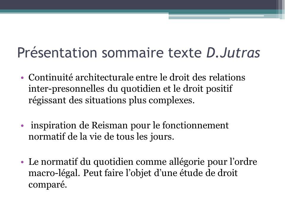 Présentation sommaire texte D.Jutras Continuité architecturale entre le droit des relations inter-presonnelles du quotidien et le droit positif régissant des situations plus complexes.