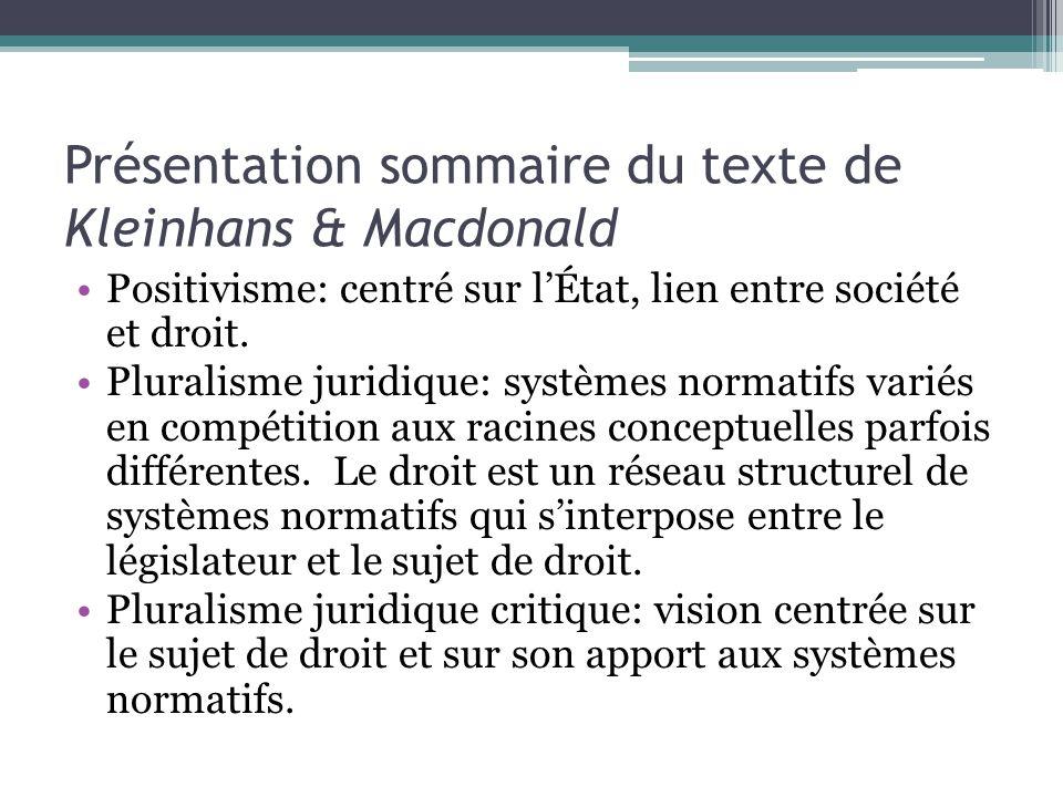 Présentation sommaire du texte de Kleinhans & Macdonald Positivisme: centré sur lÉtat, lien entre société et droit.