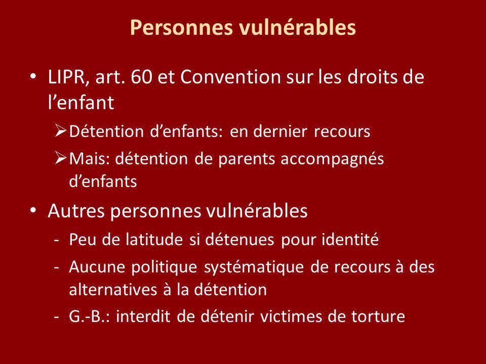 Personnes vulnérables LIPR, art. 60 et Convention sur les droits de lenfant Détention denfants: en dernier recours Mais: détention de parents accompag