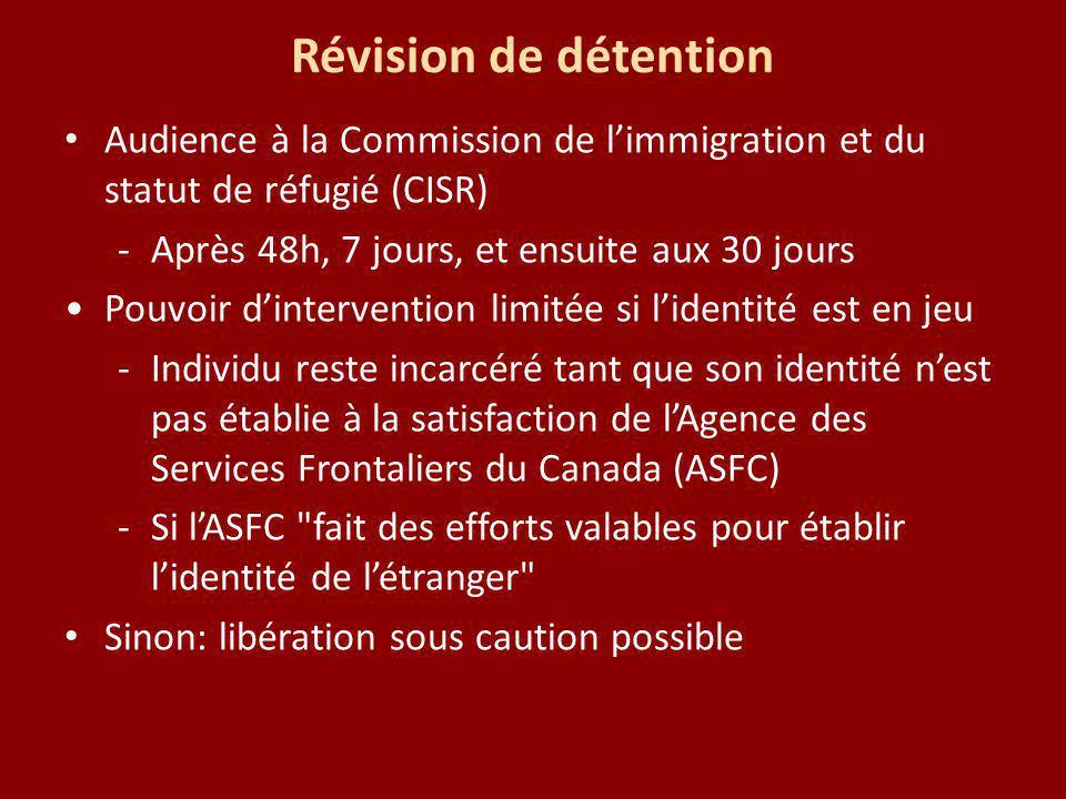Révision de détention Audience à la Commission de limmigration et du statut de réfugié (CISR) -Après 48h, 7 jours, et ensuite aux 30 jours Pouvoir din
