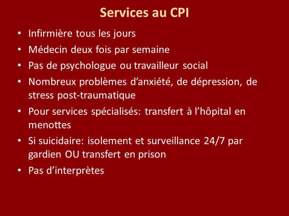 Services au CPI Infirmière tous les jours Médecin deux fois par semaine Pas de psychologue ou travailleur social Nombreux problèmes danxiété, de dépre