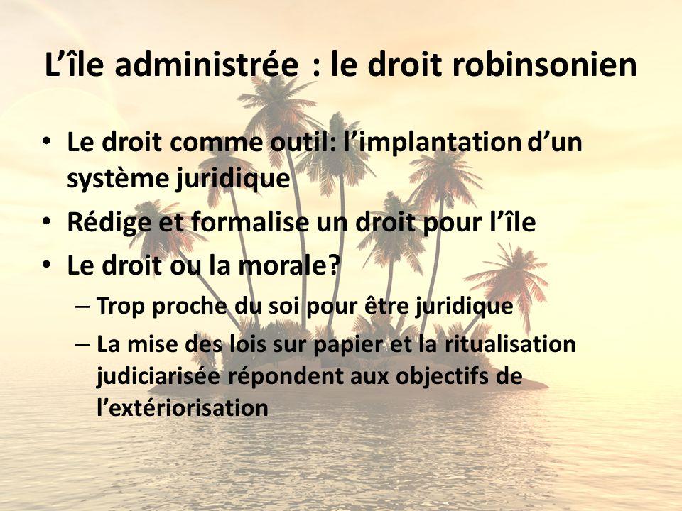 Lîle administrée : le droit robinsonien Le droit comme outil: limplantation dun système juridique Rédige et formalise un droit pour lîle Le droit ou l