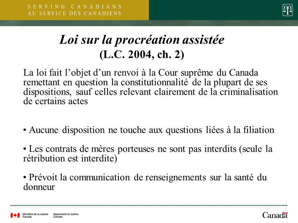 4 Loi sur la procréation assistée (L.C. 2004, ch. 2) La loi fait lobjet dun renvoi à la Cour suprême du Canada remettant en question la constitutionna