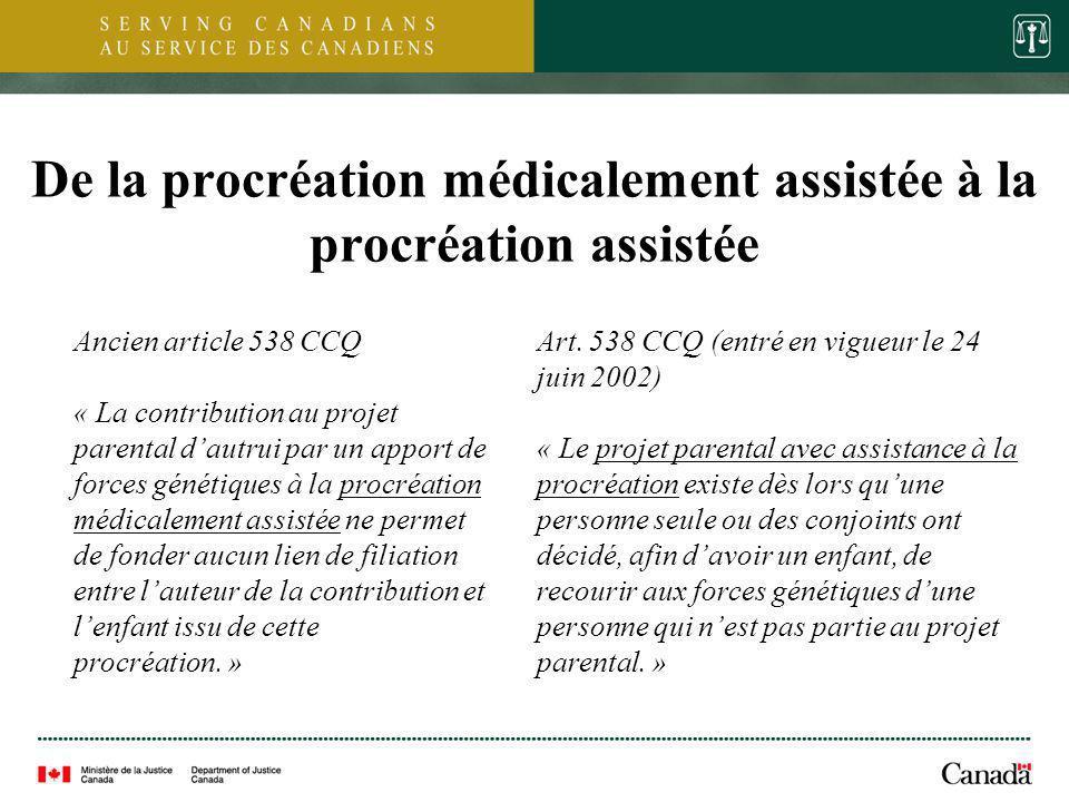 5 De la procréation médicalement assistée à la procréation assistée Ancien article 538 CCQ « La contribution au projet parental dautrui par un apport
