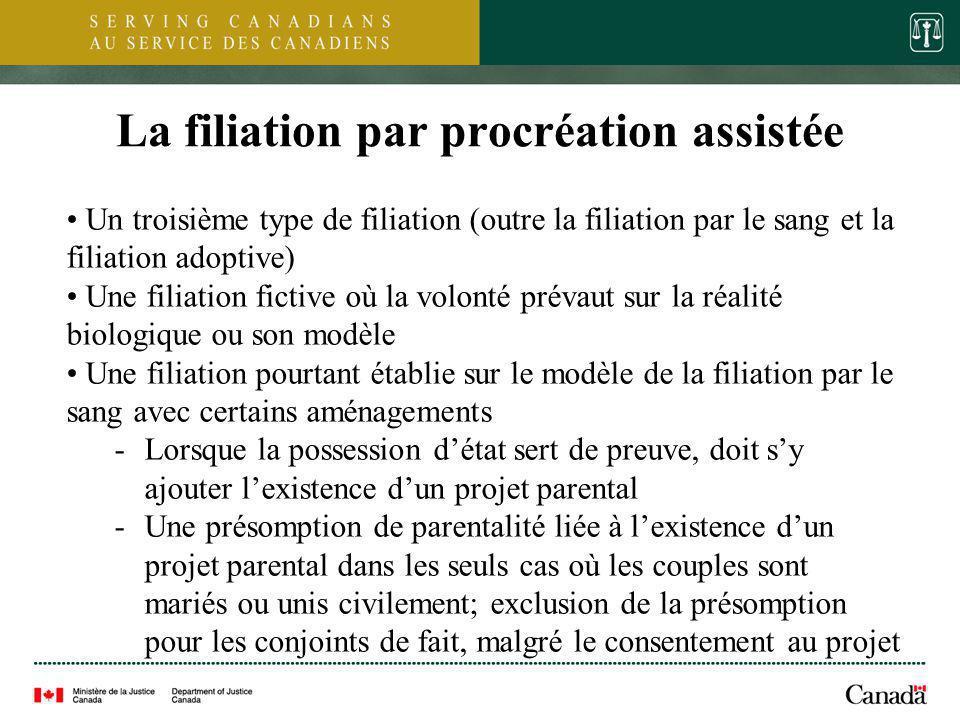 8 La filiation par procréation assistée Un troisième type de filiation (outre la filiation par le sang et la filiation adoptive) Une filiation fictive