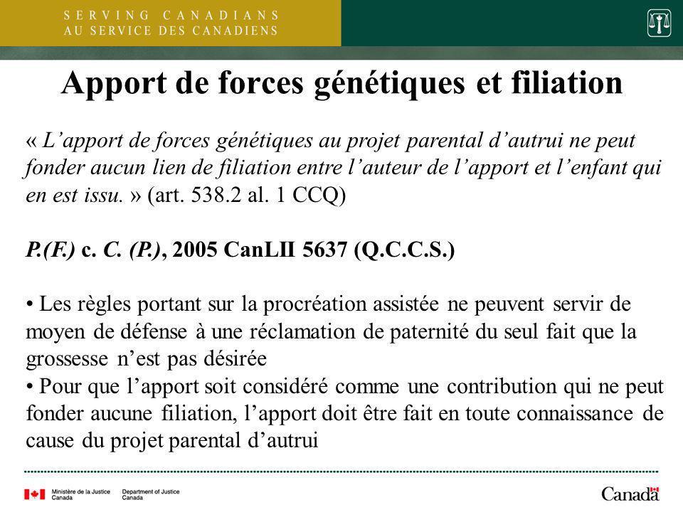 9 Apport de forces génétiques et filiation « Lapport de forces génétiques au projet parental dautrui ne peut fonder aucun lien de filiation entre laut