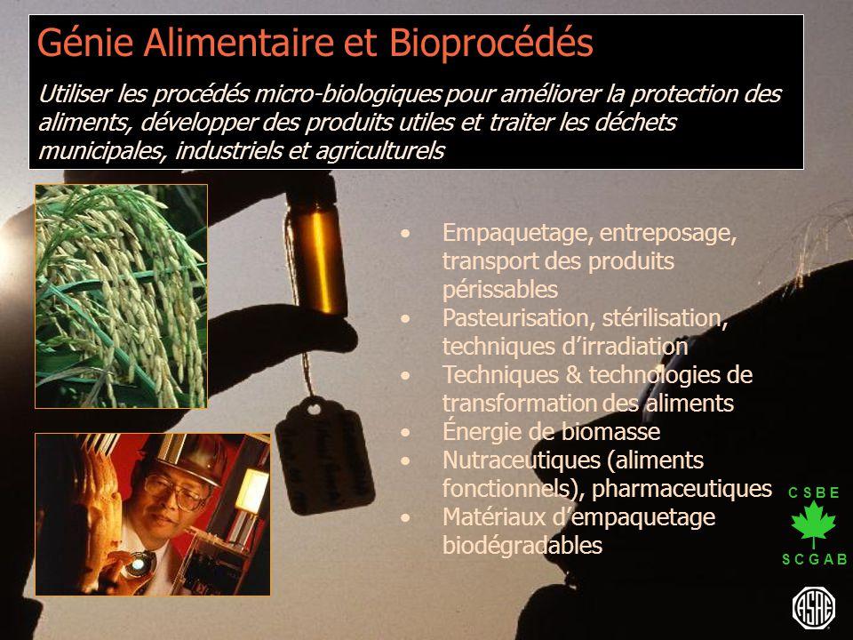 C S B E S C G A B Génie Alimentaire et Bioprocédés Utiliser les procédés micro-biologiques pour améliorer la protection des aliments, développer des p